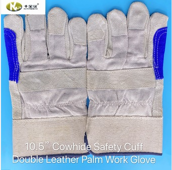 Cowhide Safety Cuf Double Leather Palm with Reinforced Thumb & Index Work Glove